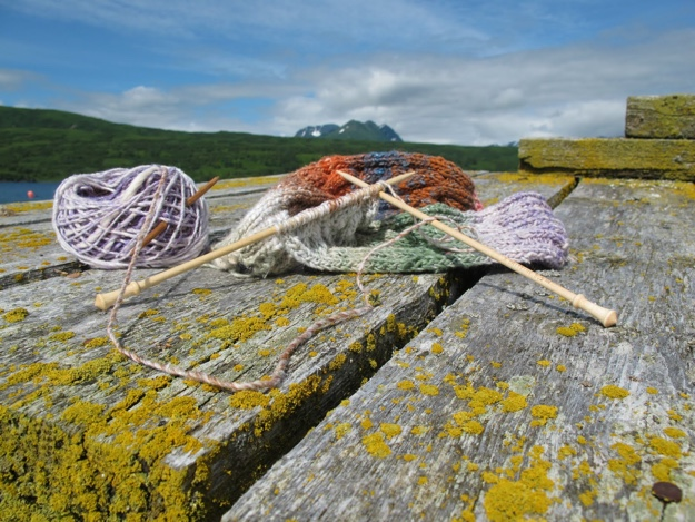 knitting on dock BLOG