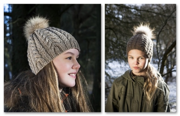 cable-hat-fur-pompom-combo